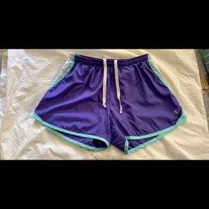 Purple and teal shorts